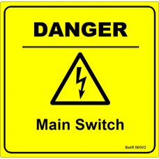 100 Swift 005V2 DANGER Main Switch Labels