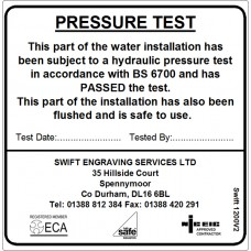 100 Swift 1200V2 Water Pressure Test Label