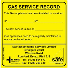 100 Swift 1300V2N Gas Service Record and Maintenance Labels