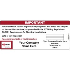 100 Swift 201P Personalised NICEIC Approved Contractor Label