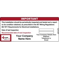 100 Swift 202P NICEIC Domestic Installer Periodic Test Label