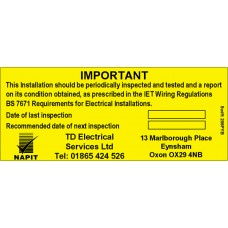 100 Swift 206PYB Personalised NAPIT Periodic Labels