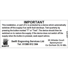 100 Swift 207P Personalised 17th Edition NAPIT Six Monthly Labels