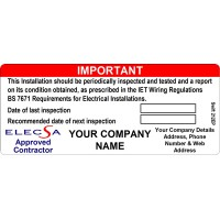 100 Swift 212EP Personalised ELECSA Approved Contractor Label