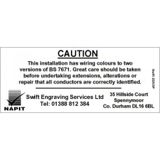 100 Swift 222V3P Personalised NAPIT Caution Harmonised Labels
