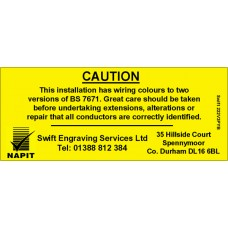 100 Swift 222V3PYB Personalised NAPIT Caution Harmonised Labels