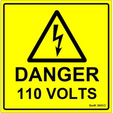 100 Swift 360V2 Danger 110 Volts Labels