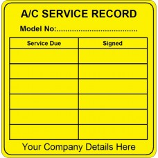 100 Swift ACSRV2 Air Conditioning Service Record Labels