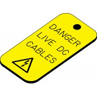 Swift ELDC5025V DANGER LIVE DC CABLES Engraved Label