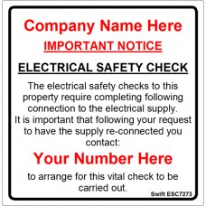100 Swift ESC7273 Electrical Safety Check Labels