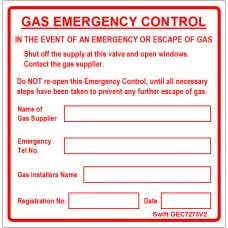 100 Swift GEC7273RV2 Gas Emergency Control Labels