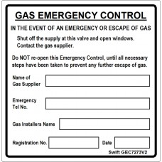 100 Swift GEC7273V2 Gas Emergency Control Labels