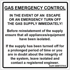 100 Swift GEM7273V2 GAS EMERGENCY CONTROL labels