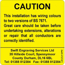 100 Swift H7273PY Caution Harmonised Cables Colour Labels