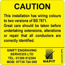 100 Swift HN7273PY Caution Harmonised Cables Colour Labels