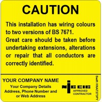 100 Swift HNA7273PY Caution Harmonised Cables Colour Labels