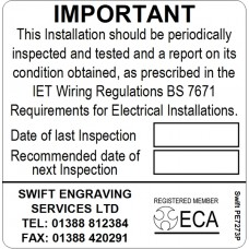 100 Swift PE7273P ECA Approved Contractor Periodic Test Labels