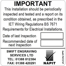 100 Swift PN7273P NAPIT Periodic Test Label Personalised