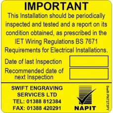 100 Swift PN7273PY NAPIT Periodic Test Labels Personalised