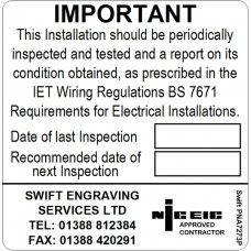 100 Swift PNA7273P NICEIC Approved Contractor Periodic Test