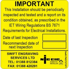 100 Swift PND7273PY NICEIC Domestic Installer Periodic Test