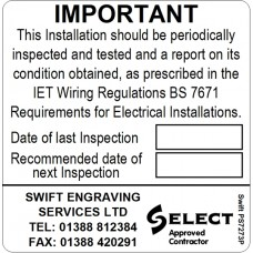 100 Swift PS7273P SELECT Approved Contractor Periodic Test Label