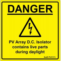 100 Swift PVI7273 PV Array DC Isolator Labels