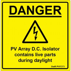 100 Swift PVI7273 PV Array DC Isolator Labels