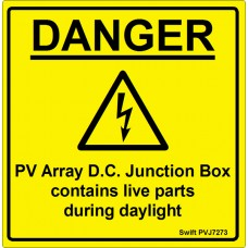 100 Swift PVJ7273 PV Array DC Junction Box Labels