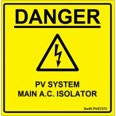 100 Swift PVS7273 PV System Main AC Isolator Labels