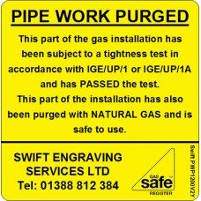100 Swift PWP1200V2Y PIPE WORK PURGED with NATURAL GAS label