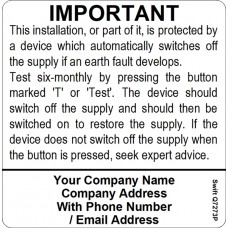 100 Swift S7273P Six Monthly Test Labels Personalised