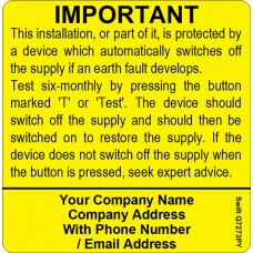 100 Swift S7273PY Six Monthly Test Labels Personalised