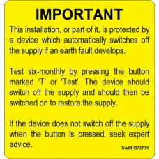 100 Swift S7273Y Six Monthly Test Labels