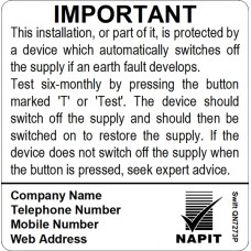 100 Swift SN7273P NAPIT Six Monthly Test Labels Personalised