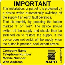 100 Swift SN7273PY NAPIT Six Monthly Test Labels Personalised