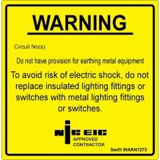 100 Swift WARN7273 Warning No Provision For Earthing Metal Equip