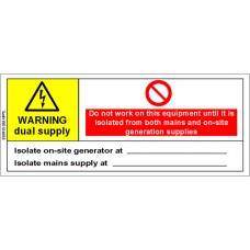 100 Swift WDS14058RB Warning Dual Supply Mains & Generator Label