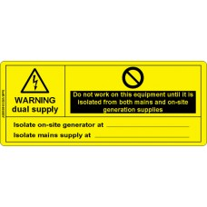 100 Swift WDS14058BY Warning Dual Supply Mains & Generator Label