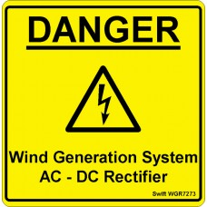 100 Swift WGR7273 DANGER Wind Generation System AC-DC Rectifier